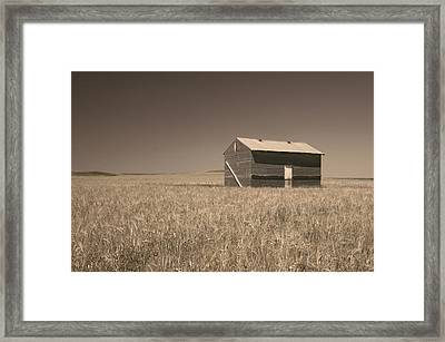 Barn At Chocteau Sepia Glacier National Park Framed Print by Rich Franco