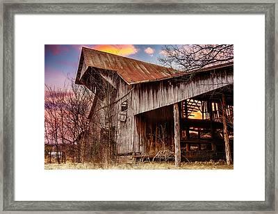 Barn At Sunset Framed Print by Brett Engle