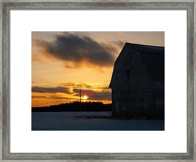 Barn At Sunset Framed Print by Gene Cyr