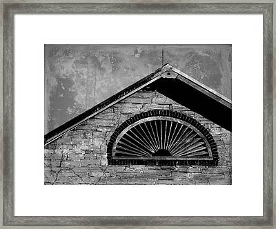 Barn Detail - Black And White Framed Print