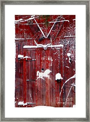 Barn Door In Winter Framed Print