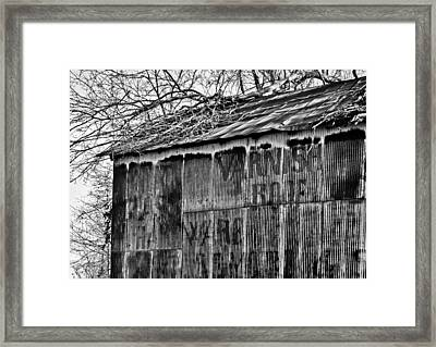 Framed Print featuring the photograph Barn Ghost Sign In Bw by Greg Jackson