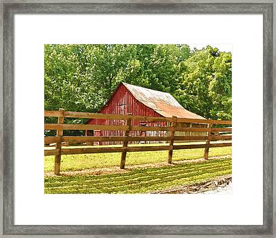 Barn In A Fence Framed Print