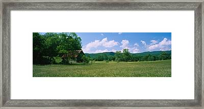 Barn In A Field, Cades Cove, Great Framed Print by Panoramic Images