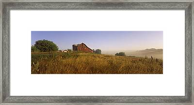 Barn In A Field, Iowa County Framed Print by Panoramic Images