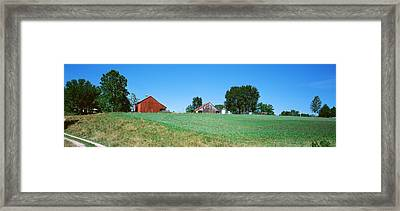Barn In A Field, Missouri, Usa Framed Print