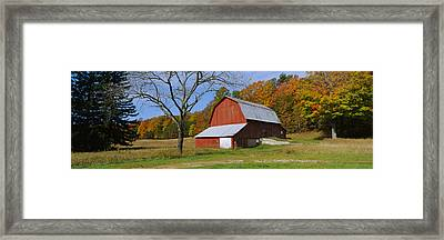 Barn In A Field, Sleeping Bear Dunes Framed Print by Panoramic Images