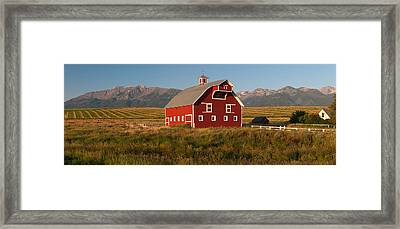 Barn In A Field With A Wallowa Framed Print by Panoramic Images