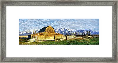 Barn In A Field With Mountain Range Framed Print