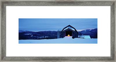 Barn In A Snow Covered Field, Vermont Framed Print by Panoramic Images