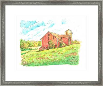 Barn In Cornfield, Wisconsin Framed Print