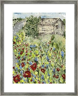 Barn In Field Framed Print