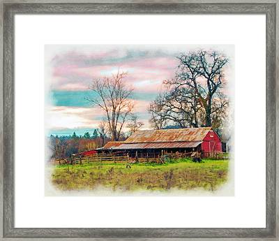 Barn In Penn Valley Painted Framed Print