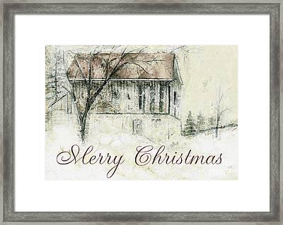 Barn In Snow Christmas Card Framed Print