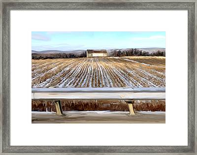 Barn In Snow Framed Print by Mary Vollero