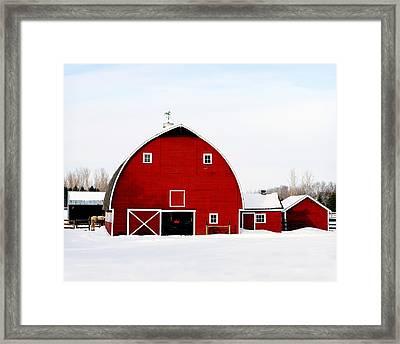 Barn In Snow Framed Print