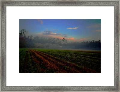 Barn In The Mist Framed Print by John Harding