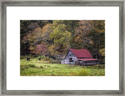 Barn In The Smokies Framed Print by Debra and Dave Vanderlaan