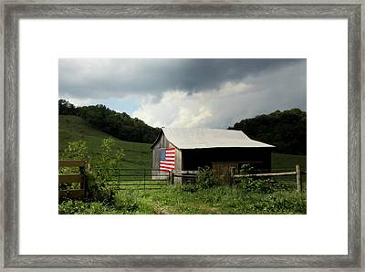 Barn In The Usa Framed Print by Karen Wiles
