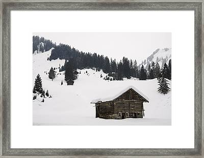 Barn In The Winterly Alps - Beautiful Mountain Landscape With Lots Of Snow Framed Print