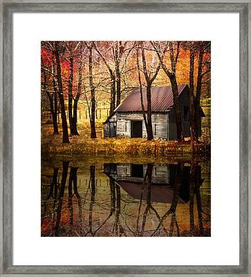 Barn In The Woods Framed Print by Debra and Dave Vanderlaan