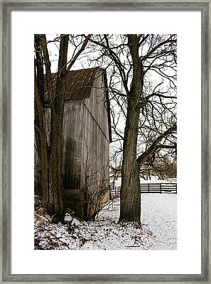 Barn In Winter Framed Print by Donald Fink