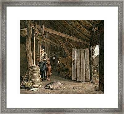 Barn Interior With A Maid Churning Butter Oil On Canvas Framed Print by Govert Dircksz. Camphuysen