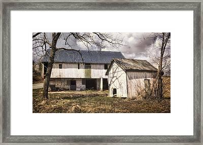 Barn Near Utica Mills Covered Bridge Framed Print by Joan Carroll