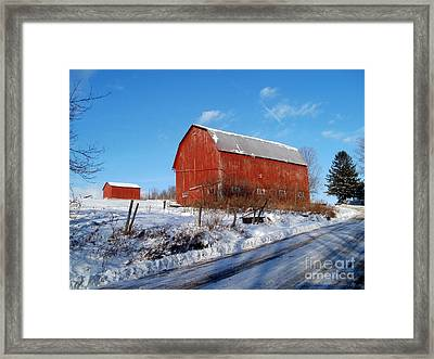 Barn On A Hill Framed Print