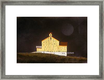 Framed Print featuring the painting Barn On Black #3 by William Renzulli
