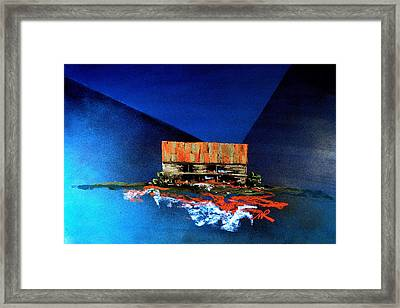 Framed Print featuring the painting Barn On Blue by William Renzulli