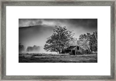 Barn On Foggy Morning In Monochrome Framed Print