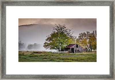 Barn On Foggy Morning Framed Print
