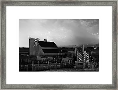 Barn On The Farm And Lightning Thunderstorm Bw Framed Print
