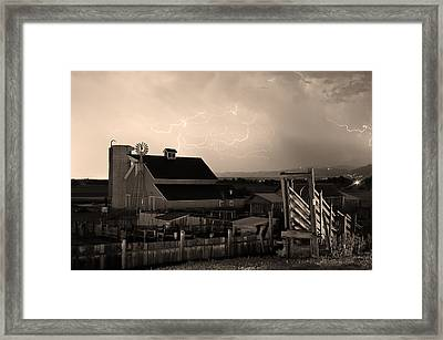 Barn On The Farm And Lightning Thunderstorm Sepia Framed Print by James BO  Insogna