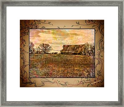 Barn On The Hill-featured In Barns Big And Small-photography And Textures Groups Framed Print by EricaMaxine  Price