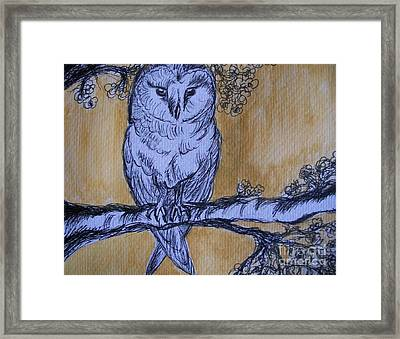 Framed Print featuring the painting Barn Owl by Teresa White
