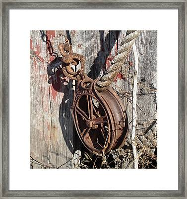 Barn Pulley Framed Print