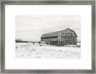 Barn Quebec Province In  Black And White Framed Print by Jane Rix