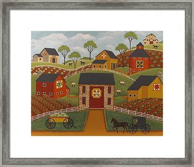 Barn Quilts Framed Print by Mary Charles