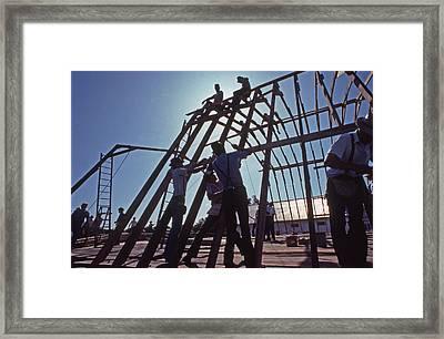 Barn Raising Horse And Buggy Mennonite Framed Print