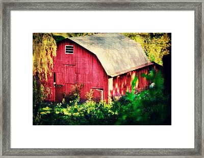 Barn Red Sunset Framed Print