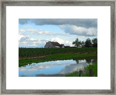 Barn Reflected In Pond  Framed Print by Karen Molenaar Terrell