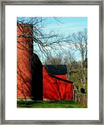 Barn Shadows Framed Print