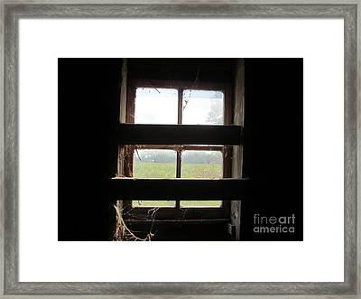 Barn South Lower Window Framed Print by Tina M Wenger