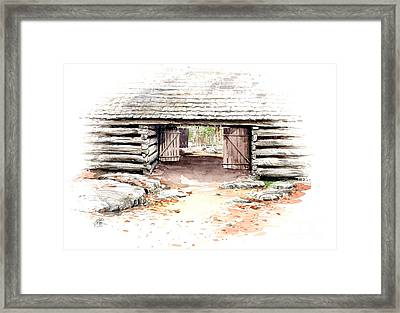 Framed Print featuring the painting Barn Stalls by Bob  George