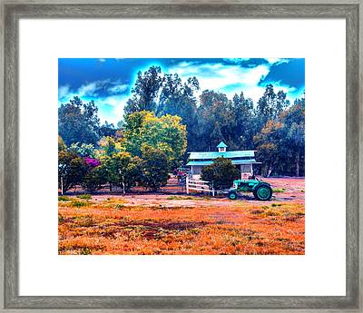 Barn Tractor And A Horse Framed Print