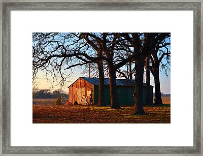 Barn Under Oak Trees Framed Print