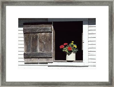Framed Print featuring the photograph Barn Window Flowers by Alan L Graham