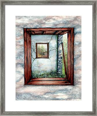 Barn Window Peering Through Time Framed Print by Janine Riley